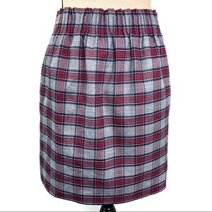 J. Crew Plaid A-Line Elastic Waistband Mini Skirt